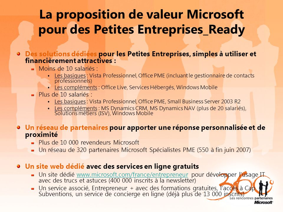 3 opportunités sur ce marché, avec des campagnes de communication associées LE NOUVEL EQUIPEMENT 1 entreprise sur 3 n'a pas de PC 13% des entreprises (hors Home Office) sont équipées d'un serveur - 250 000 TPE/PME sont connectées en réseau en poste à poste Passeport Numérique LA MIGRATION Bases installées: Windows : 1 sur 3 inférieures à Win XP Office : 1 sur 2 inférieures à Office 2003 Server Windows : 1 sur 3 inférieures à Windows Server 2000/2003 Lancement Office 2007 & Windows Vista LE PIRATAGE 47% de taux de piratage sur le marché des TPE Windows : 61% de taux de piratage et 1,5 millions non conformes WGA Office : 43% de taux de piratage Initiatives anti-piratage « Windows Genuine Advantage » Crédit d'impôt Nouvelles Technologies 1 er jan 2005 au 31 déc 2007