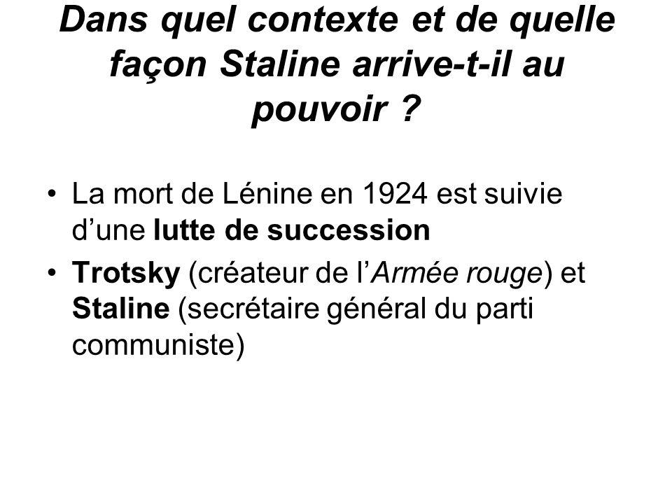 Dans quel contexte et de quelle façon Staline arrive-t-il au pouvoir ? La mort de Lénine en 1924 est suivie d'une lutte de succession Trotsky (créateu