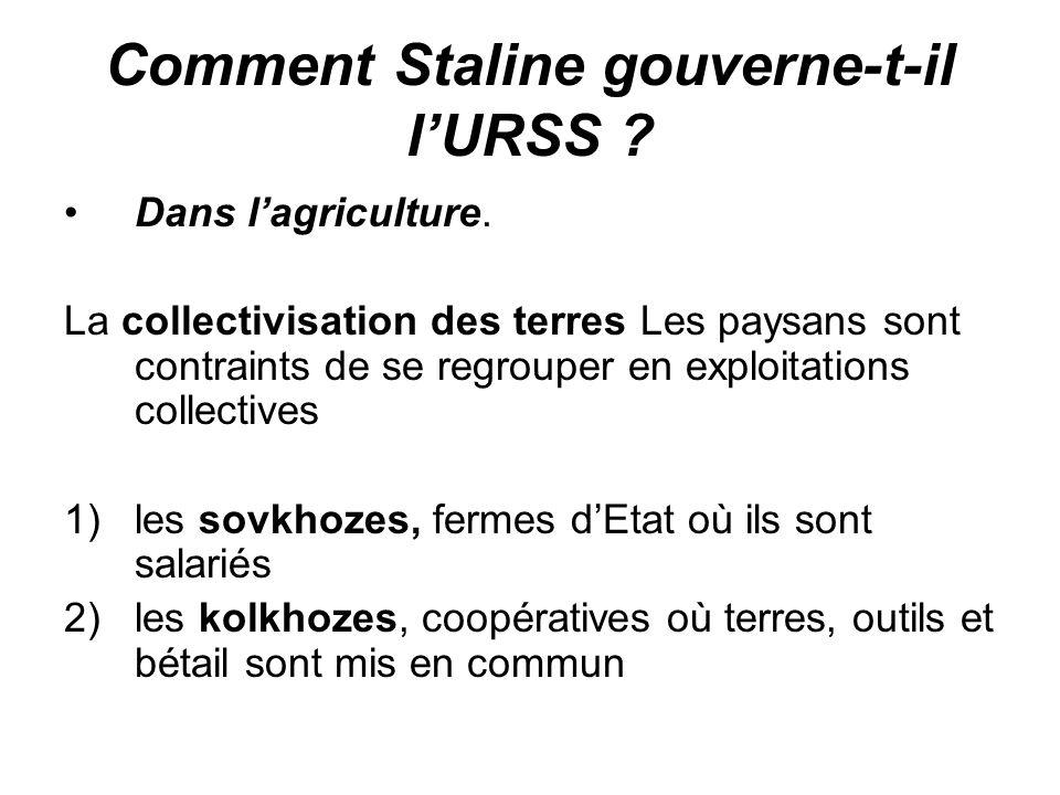 Comment Staline gouverne-t-il l'URSS ? Dans l'agriculture. La collectivisation des terres Les paysans sont contraints de se regrouper en exploitations