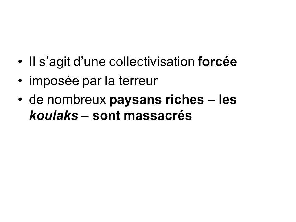 Il s'agit d'une collectivisation forcée imposée par la terreur de nombreux paysans riches – les koulaks – sont massacrés