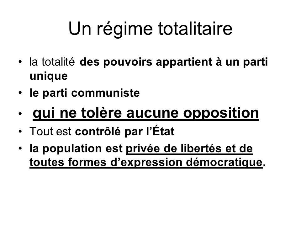 Un régime totalitaire la totalité des pouvoirs appartient à un parti unique le parti communiste qui ne tolère aucune opposition Tout est contrôlé par