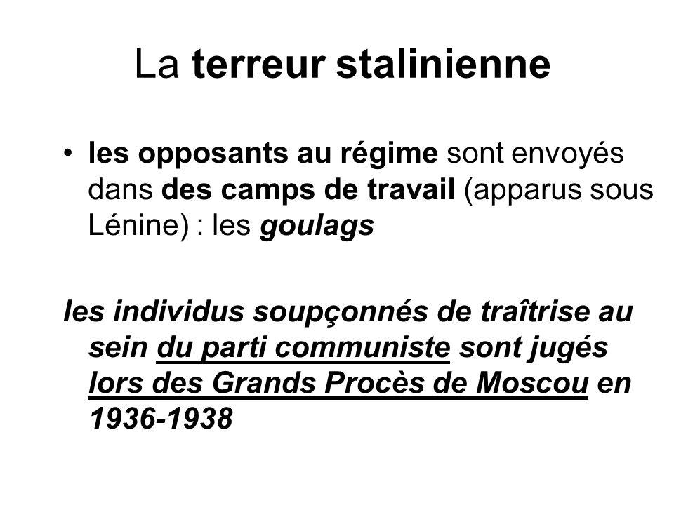 La terreur stalinienne les opposants au régime sont envoyés dans des camps de travail (apparus sous Lénine) : les goulags les individus soupçonnés de