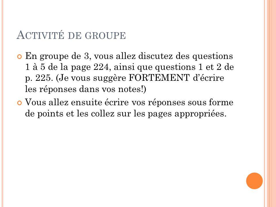 A CTIVITÉ DE GROUPE En groupe de 3, vous allez discutez des questions 1 à 5 de la page 224, ainsi que questions 1 et 2 de p.