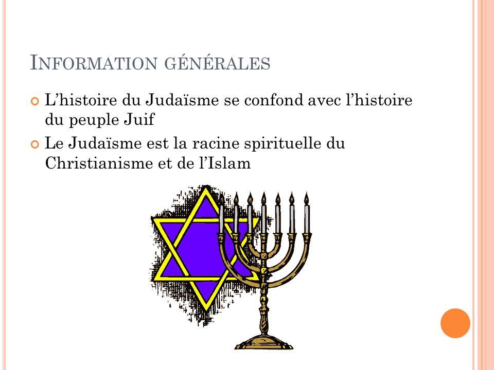 I NFORMATION GÉNÉRALES L'histoire du Judaïsme se confond avec l'histoire du peuple Juif Le Judaïsme est la racine spirituelle du Christianisme et de l'Islam