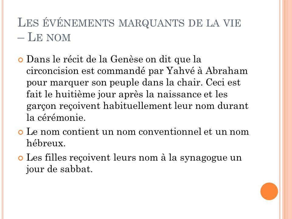 L ES ÉVÉNEMENTS MARQUANTS DE LA VIE – L E NOM Dans le récit de la Genèse on dit que la circoncision est commandé par Yahvé à Abraham pour marquer son peuple dans la chair.