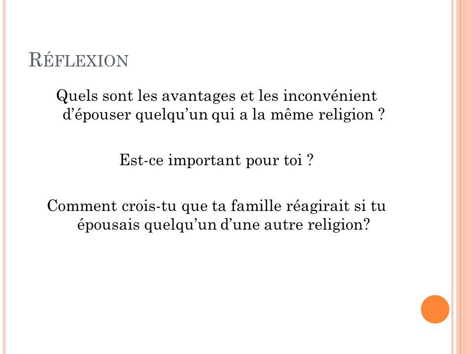 R ÉFLEXION Quels sont les avantages et les inconvénient d'épouser quelqu'un qui a la même religion .