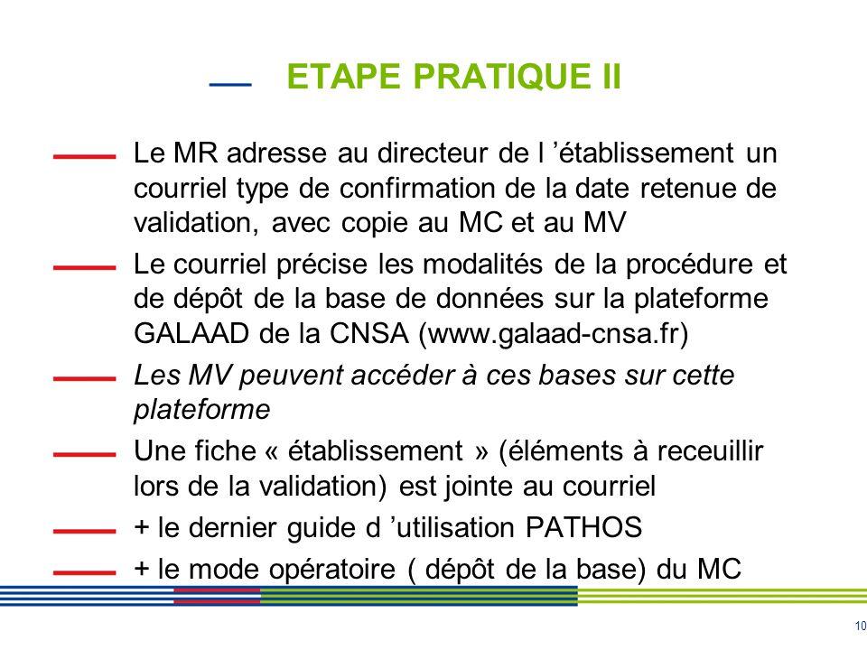 10 ETAPE PRATIQUE II Le MR adresse au directeur de l 'établissement un courriel type de confirmation de la date retenue de validation, avec copie au M