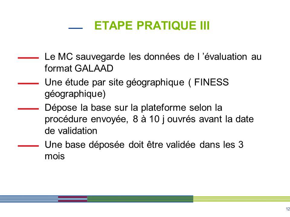 12 ETAPE PRATIQUE III Le MC sauvegarde les données de l 'évaluation au format GALAAD Une étude par site géographique ( FINESS géographique) Dépose la