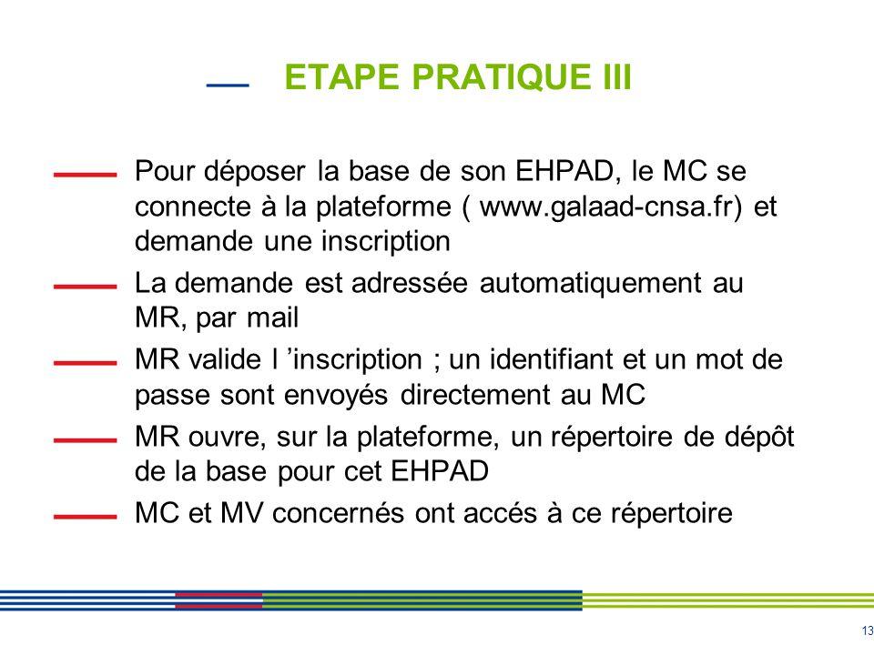13 ETAPE PRATIQUE III Pour déposer la base de son EHPAD, le MC se connecte à la plateforme ( www.galaad-cnsa.fr) et demande une inscription La demande