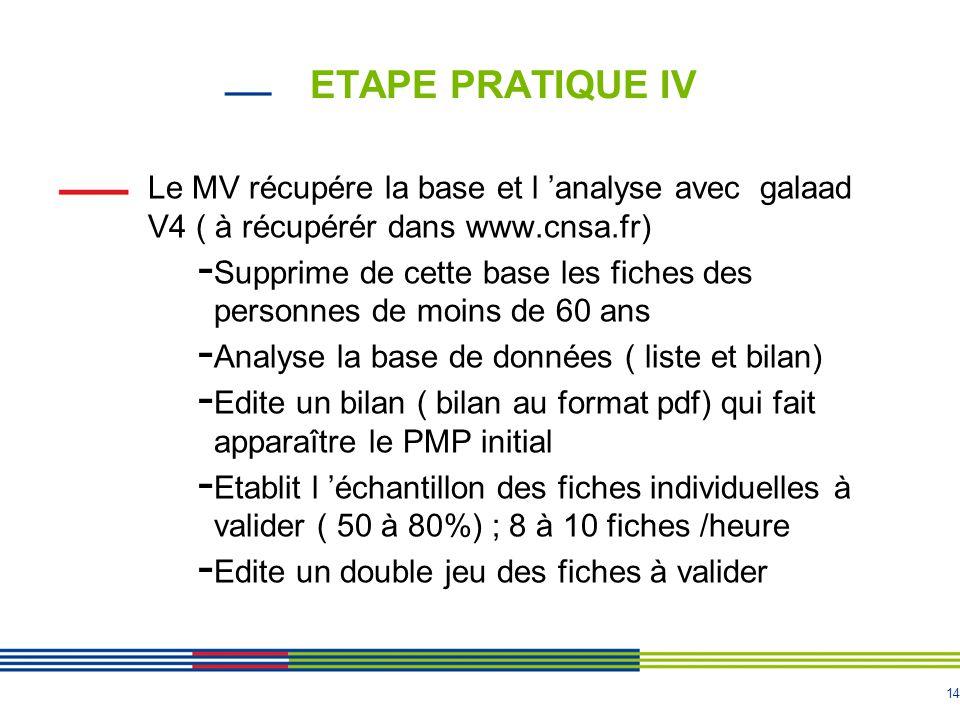 14 ETAPE PRATIQUE IV Le MV récupére la base et l 'analyse avec galaad V4 ( à récupérér dans www.cnsa.fr) - Supprime de cette base les fiches des perso