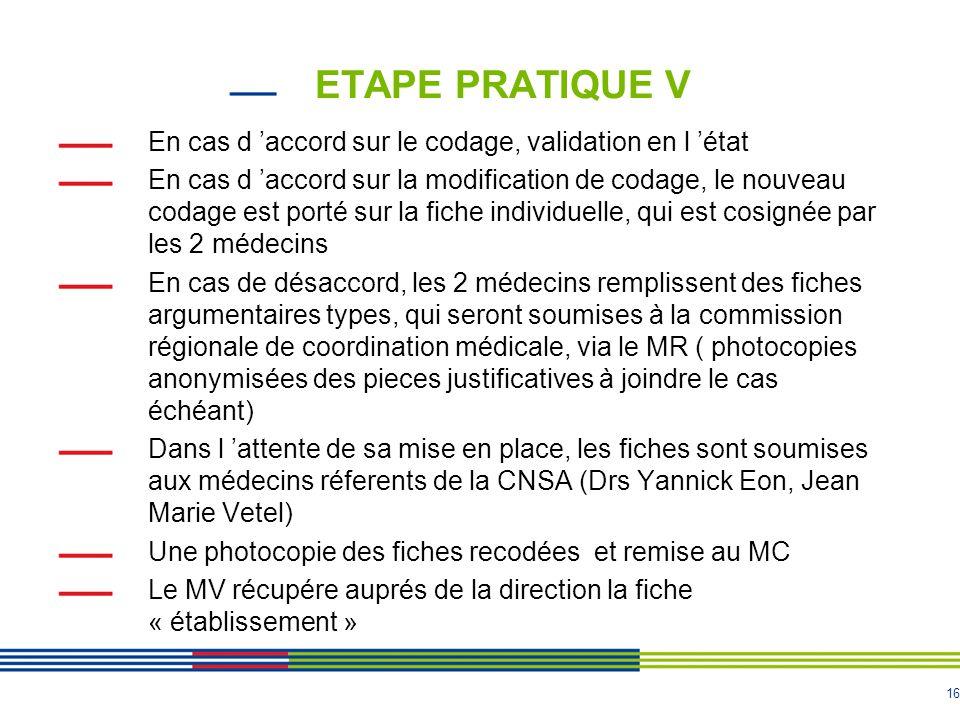 16 ETAPE PRATIQUE V En cas d 'accord sur le codage, validation en l 'état En cas d 'accord sur la modification de codage, le nouveau codage est porté