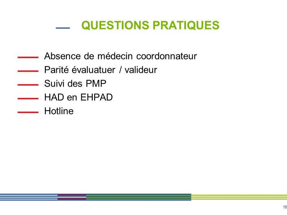 18 QUESTIONS PRATIQUES Absence de médecin coordonnateur Parité évaluatuer / valideur Suivi des PMP HAD en EHPAD Hotline
