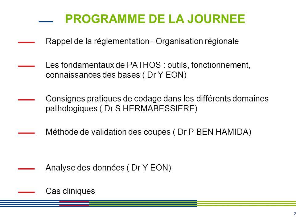 2 PROGRAMME DE LA JOURNEE Rappel de la réglementation - Organisation régionale Les fondamentaux de PATHOS : outils, fonctionnement, connaissances des