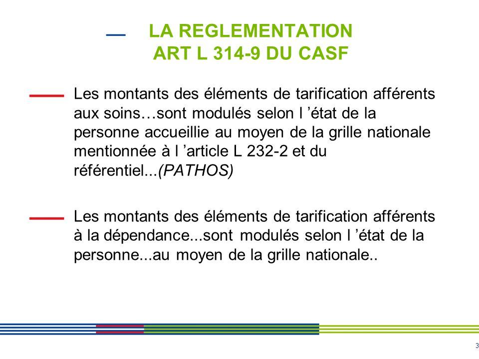 3 LA REGLEMENTATION ART L 314-9 DU CASF Les montants des éléments de tarification afférents aux soins…sont modulés selon l 'état de la personne accuei