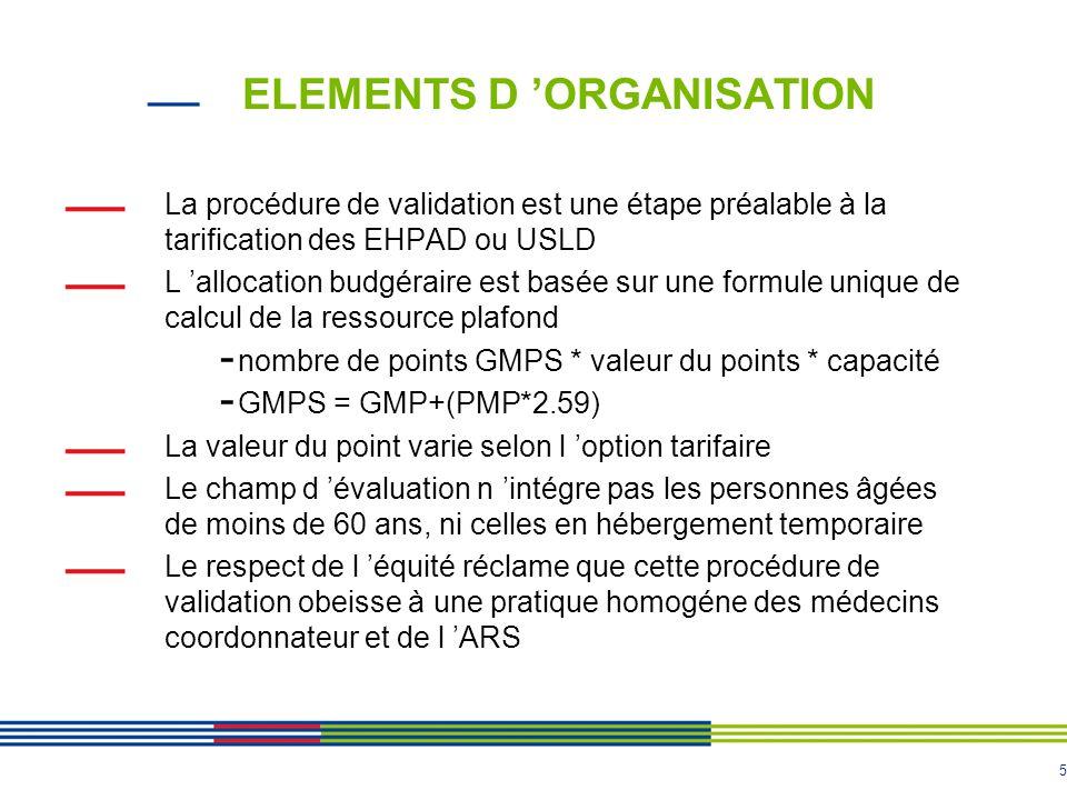 5 ELEMENTS D 'ORGANISATION La procédure de validation est une étape préalable à la tarification des EHPAD ou USLD L 'allocation budgéraire est basée s