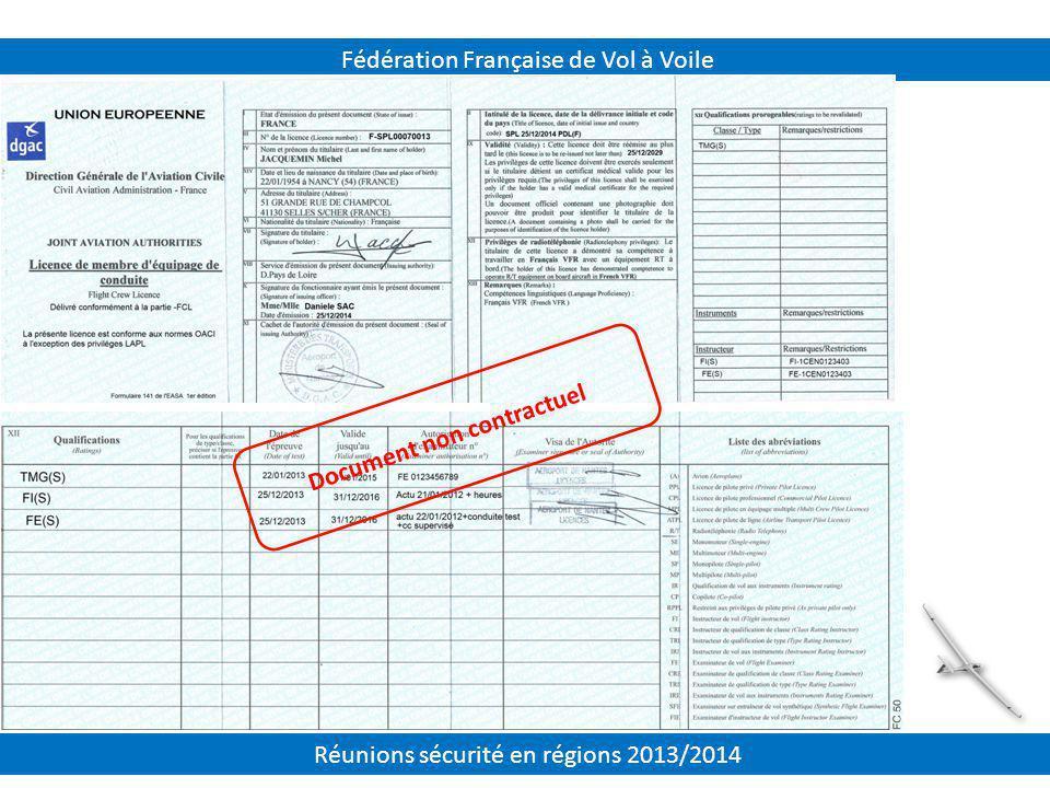 Fédération Française de Vol à Voile Document non contractuel Réunions sécurité en régions 2013/2014