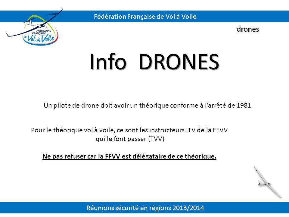 Info DRONES drones Fédération Française de Vol à Voile Un pilote de drone doit avoir un théorique conforme à l'arrêté de 1981 Pour le théorique vol à
