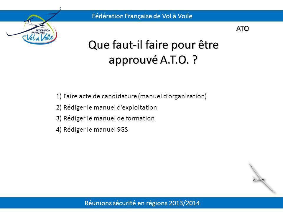 ATO Que faut-il faire pour être approuvé A.T.O. ? 1) Faire acte de candidature (manuel d'organisation) 2) Rédiger le manuel d'exploitation 3) Rédiger