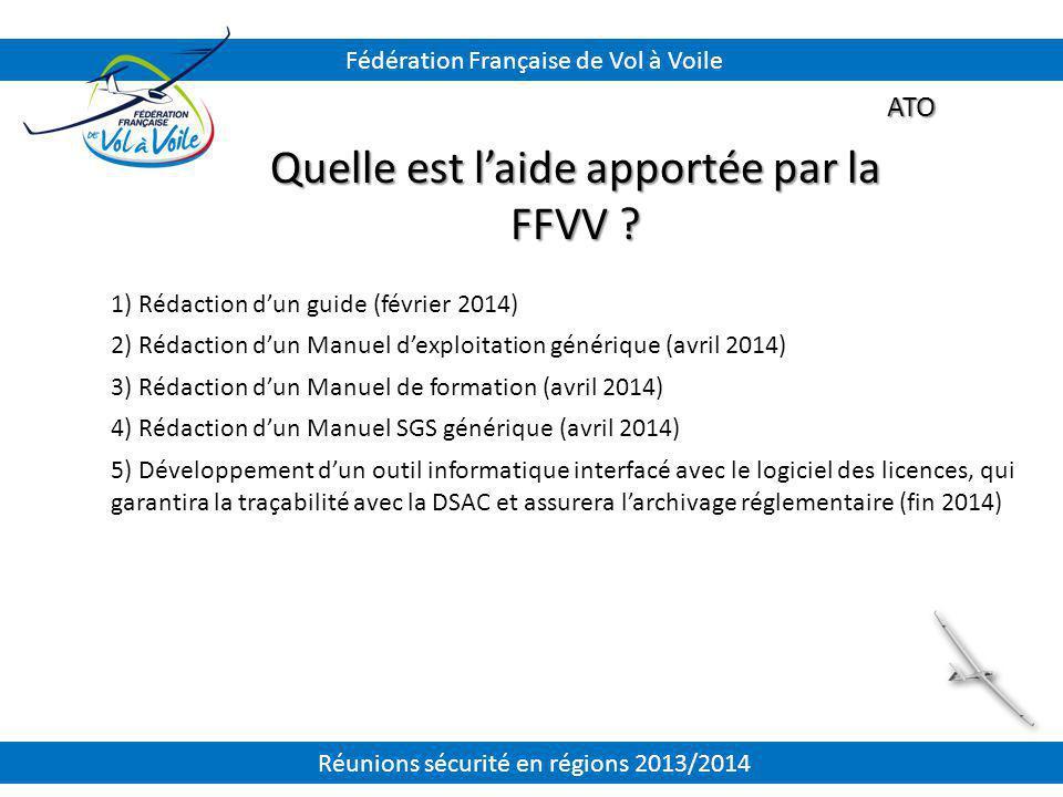 ATO Quelle est l'aide apportée par la FFVV ? 1) Rédaction d'un guide (février 2014) 2) Rédaction d'un Manuel d'exploitation générique (avril 2014) 3)