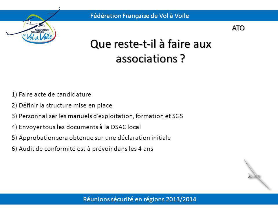 ATO Que reste-t-il à faire aux associations ? 1) Faire acte de candidature 2) Définir la structure mise en place 3) Personnaliser les manuels d'exploi