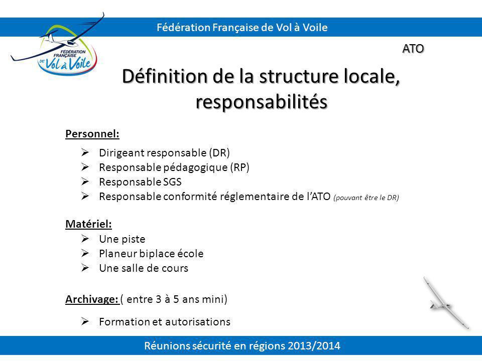 ATO Définition de la structure locale, responsabilités  Dirigeant responsable (DR)  Responsable pédagogique (RP)  Responsable SGS  Responsable con