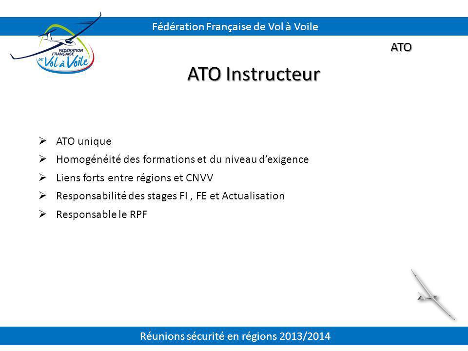 ATO ATO Instructeur  ATO unique  Homogénéité des formations et du niveau d'exigence  Liens forts entre régions et CNVV  Responsabilité des stages