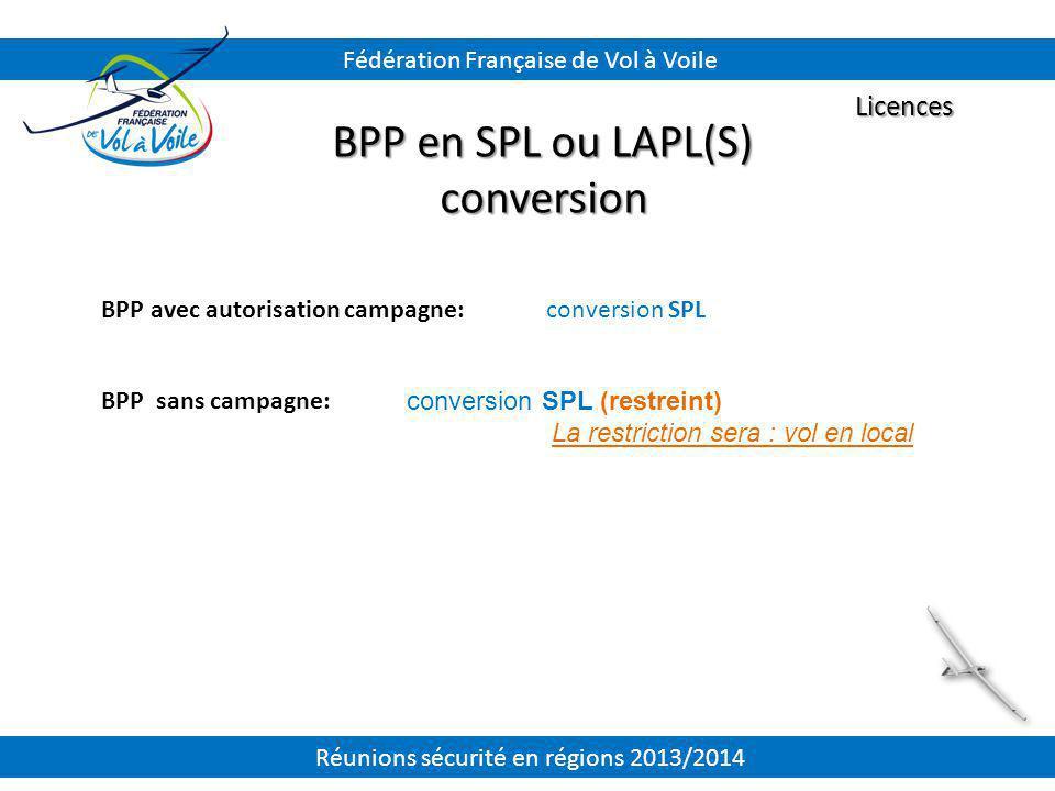 BPP avec autorisation campagne: BPP sans campagne: Licences BPP en SPL ou LAPL(S) conversion Fédération Française de Vol à Voile conversion SPL conver