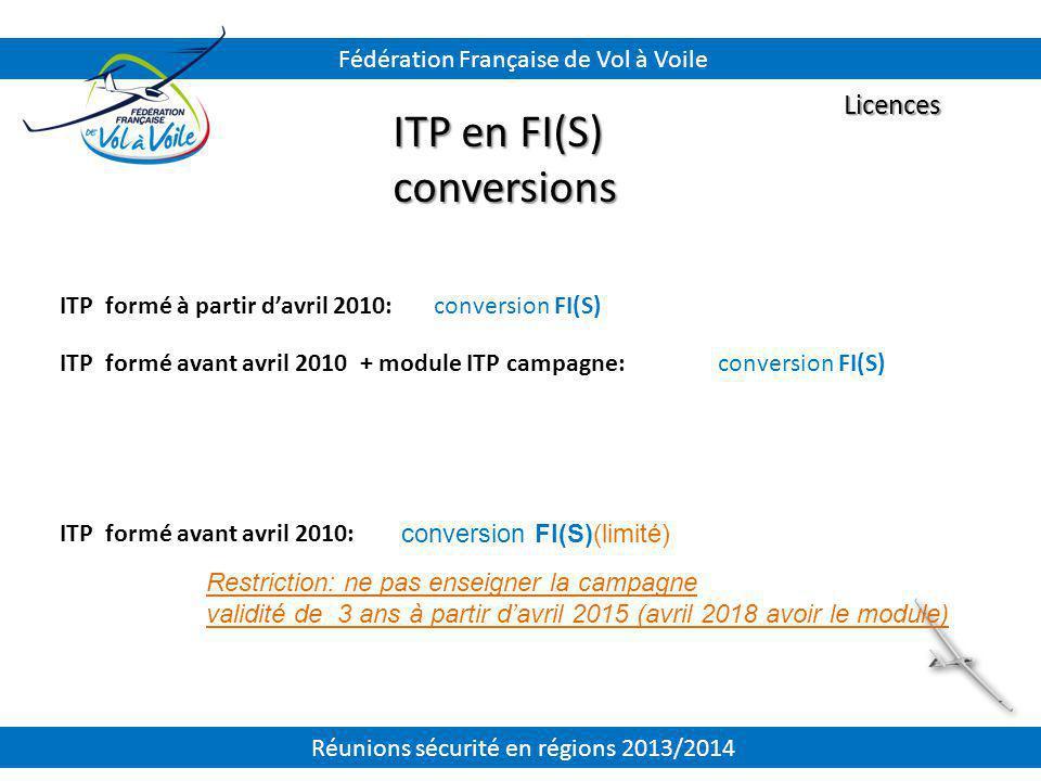 ITP formé à partir d'avril 2010: ITP formé avant avril 2010 + module ITP campagne: ITP formé avant avril 2010: Licences ITP en FI(S) conversions Fédér