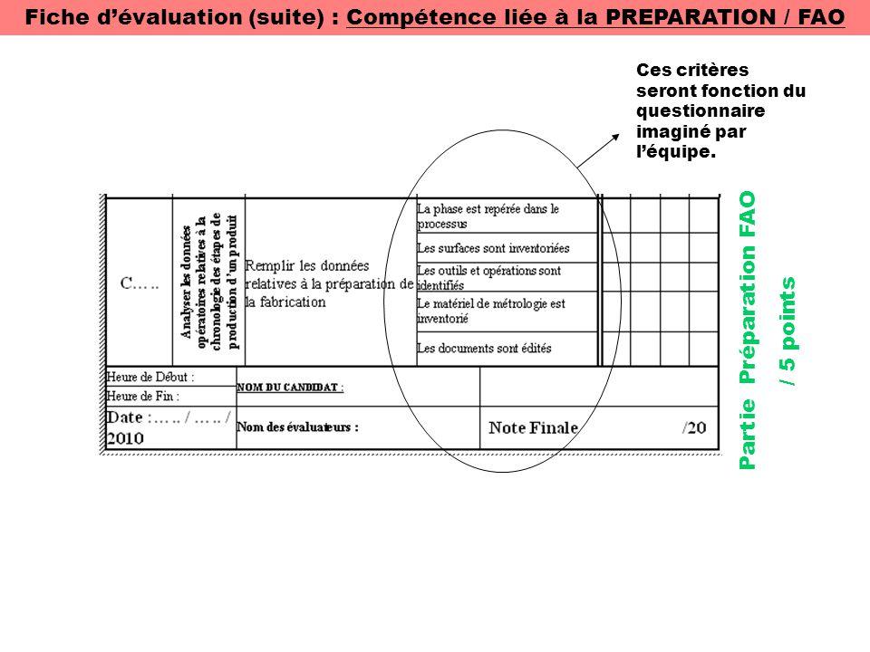 Fiche d'évaluation (suite) : Compétence liée à la PREPARATION / FAO Ces critères seront fonction du questionnaire imaginé par l'équipe. Partie Prépara