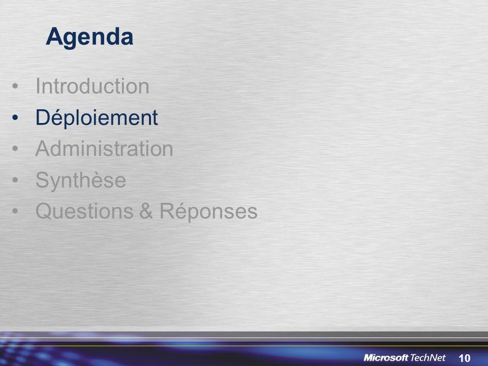 10 Agenda Introduction Déploiement Administration Synthèse Questions & Réponses