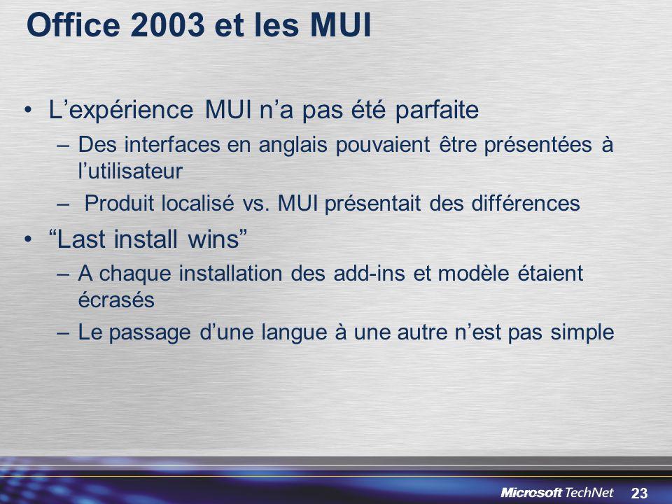 23 Office 2003 et les MUI L'expérience MUI n'a pas été parfaite –Des interfaces en anglais pouvaient être présentées à l'utilisateur – Produit localisé vs.