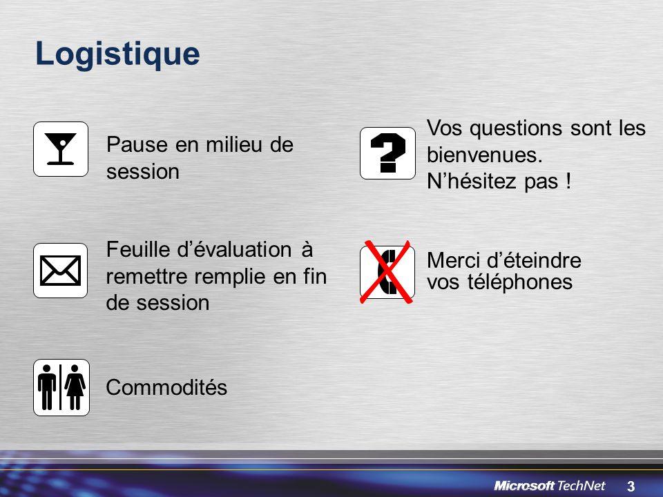 3 Logistique Pause en milieu de session Vos questions sont les bienvenues.