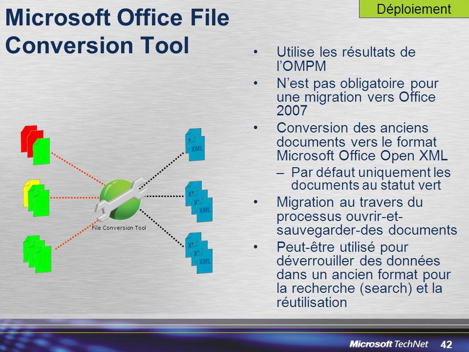 42 Utilise les résultats de l'OMPM N'est pas obligatoire pour une migration vers Office 2007 Conversion des anciens documents vers le format Microsoft Office Open XML –Par défaut uniquement les documents au statut vert Migration au travers du processus ouvrir-et- sauvegarder-des documents Peut-être utilisé pour déverrouiller des données dans un ancien format pour la recherche (search) et la réutilisation Microsoft Office File Conversion Tool File Conversion Tool Déploiement