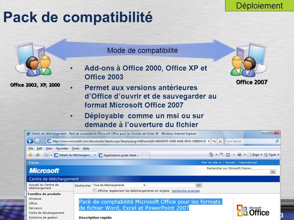 43 Pack de compatibilité Add-ons à Office 2000, Office XP et Office 2003 Permet aux versions antérieures d'Office d'ouvrir et de sauvegarder au format Microsoft Office 2007 Déployable comme un msi ou sur demande à l'ouverture du fichier Office 2003, XP, 2000 Office 2007 Mode de compatibilité Déploiement