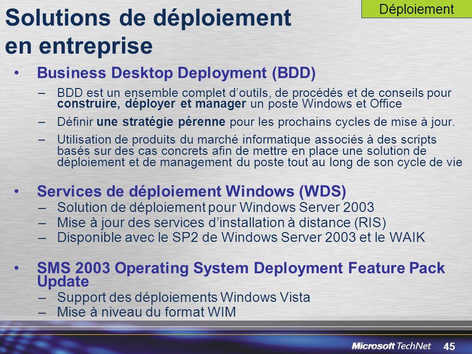 45 Solutions de déploiement en entreprise Business Desktop Deployment (BDD) –BDD est un ensemble complet d'outils, de procédés et de conseils pour construire, déployer et manager un poste Windows et Office –Définir une stratégie pérenne pour les prochains cycles de mise à jour.