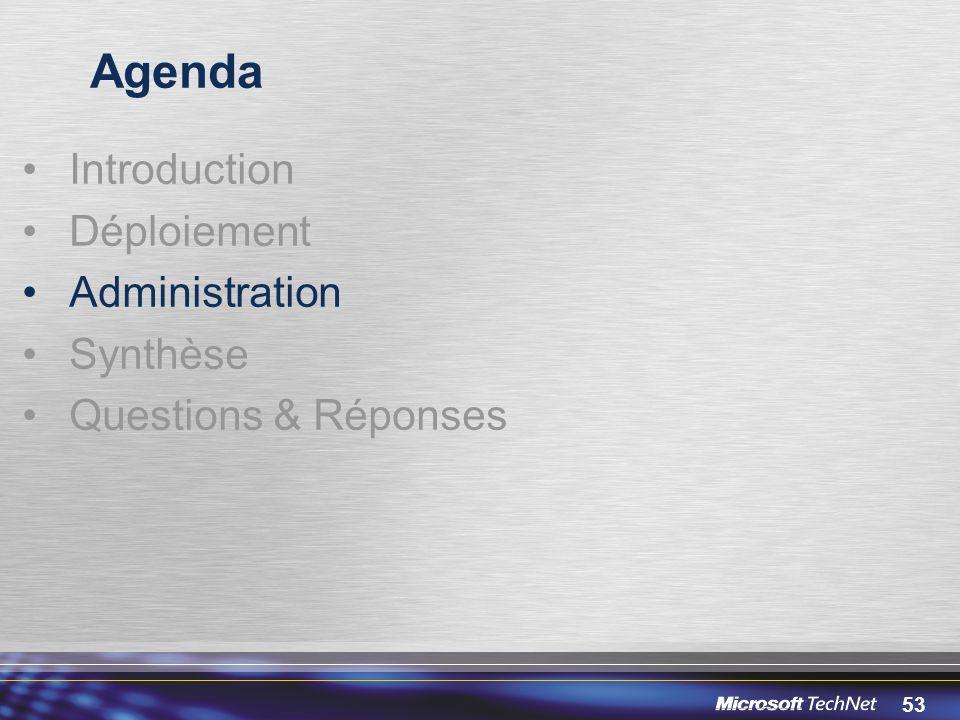 53 Agenda Introduction Déploiement Administration Synthèse Questions & Réponses