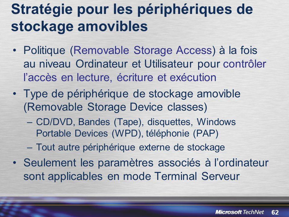 62 Stratégie pour les périphériques de stockage amovibles Politique (Removable Storage Access) à la fois au niveau Ordinateur et Utilisateur pour contrôler l'accès en lecture, écriture et exécution Type de périphérique de stockage amovible (Removable Storage Device classes) –CD/DVD, Bandes (Tape), disquettes, Windows Portable Devices (WPD), téléphonie (PAP) –Tout autre périphérique externe de stockage Seulement les paramètres associés à l'ordinateur sont applicables en mode Terminal Serveur