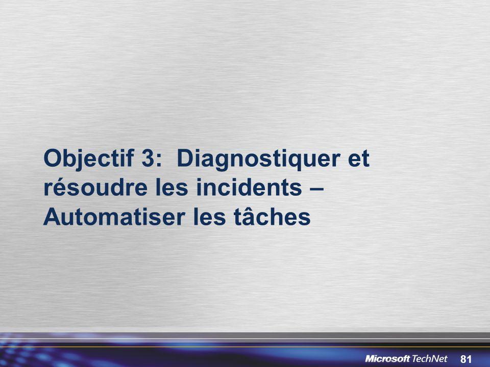 81 Objectif 3: Diagnostiquer et résoudre les incidents – Automatiser les tâches