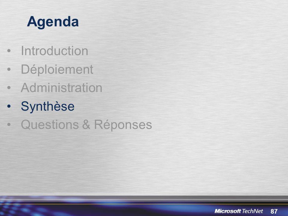87 Agenda Introduction Déploiement Administration Synthèse Questions & Réponses