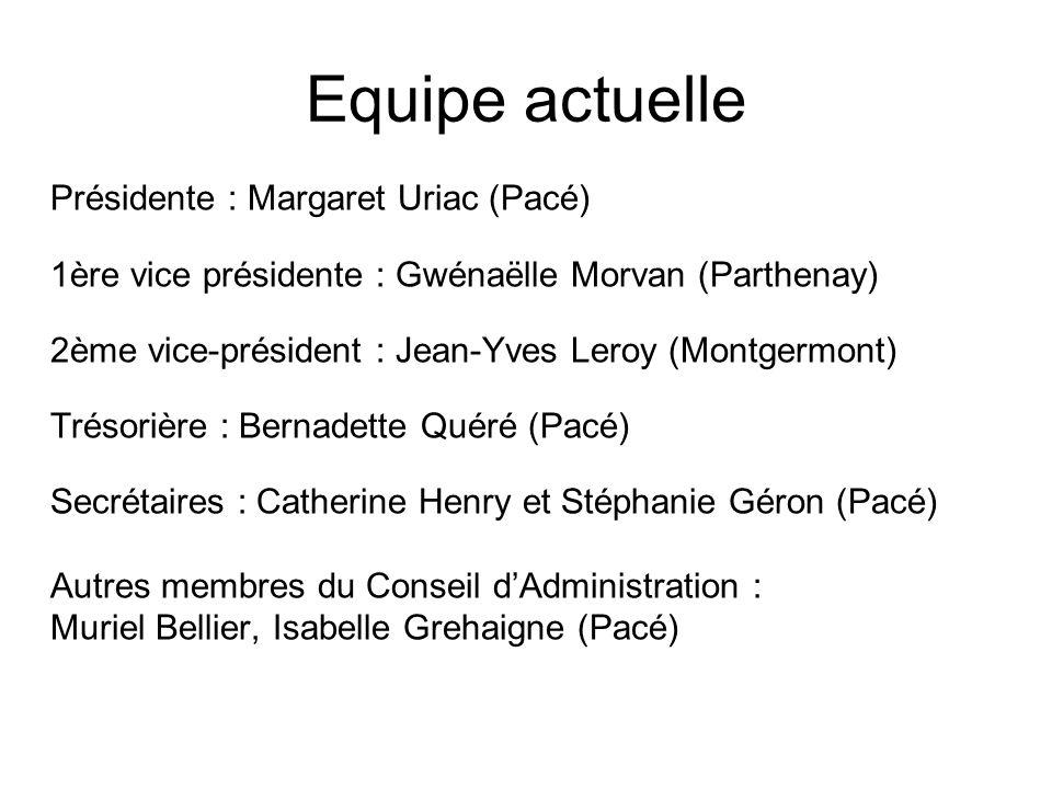 Equipe actuelle Présidente : Margaret Uriac (Pacé) 1ère vice présidente : Gwénaëlle Morvan (Parthenay) 2ème vice-président : Jean-Yves Leroy (Montgerm