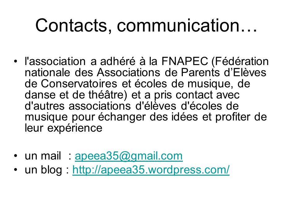 Contacts, communication… l'association a adhéré à la FNAPEC (Fédération nationale des Associations de Parents d'Elèves de Conservatoires et écoles de