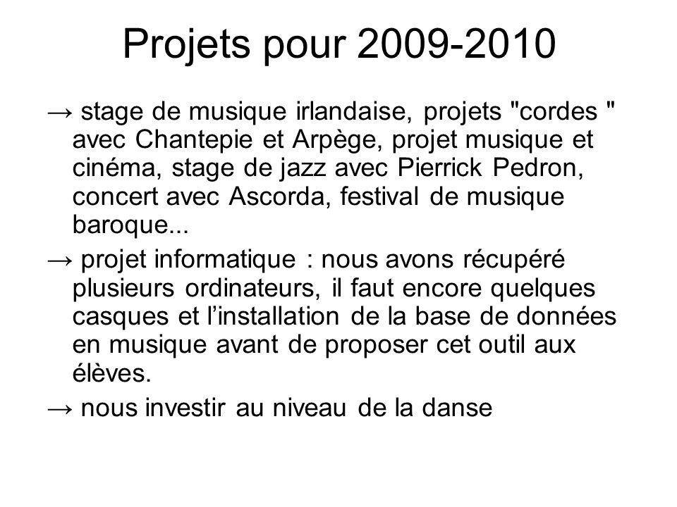Projets pour 2009-2010 → stage de musique irlandaise, projets