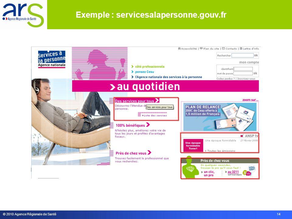 © 2010 Agence Régionale de Santé 14 Exemple : servicesalapersonne.gouv.fr