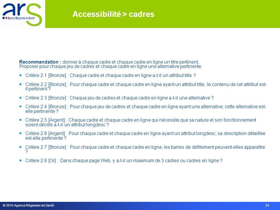 © 2010 Agence Régionale de Santé 24 Recommandation : donner à chaque cadre et chaque cadre en ligne un titre pertinent.