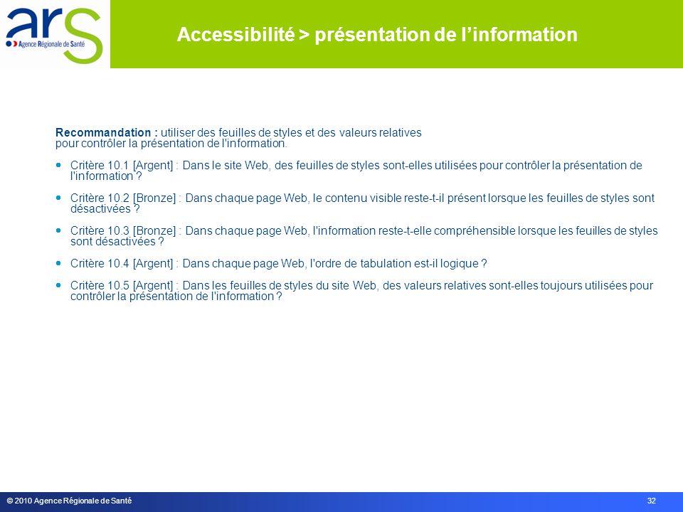 © 2010 Agence Régionale de Santé 32 Recommandation : utiliser des feuilles de styles et des valeurs relatives pour contrôler la présentation de l information.