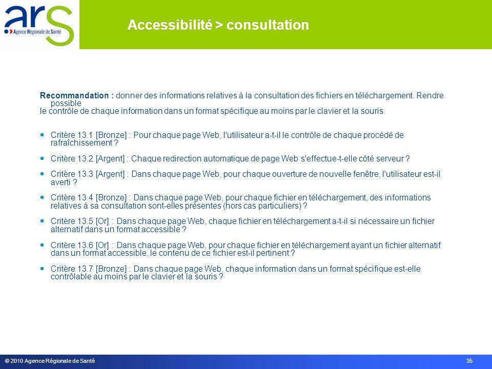 © 2010 Agence Régionale de Santé 35 Recommandation : donner des informations relatives à la consultation des fichiers en téléchargement.