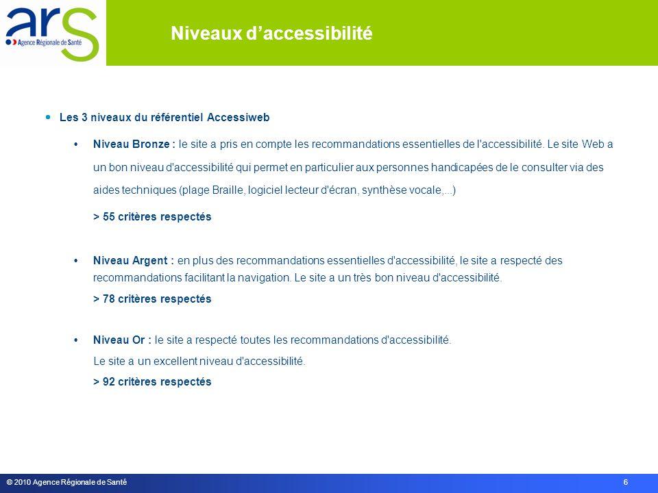 © 2010 Agence Régionale de Santé 6  Les 3 niveaux du référentiel Accessiweb  Niveau Bronze : le site a pris en compte les recommandations essentielles de l accessibilité.