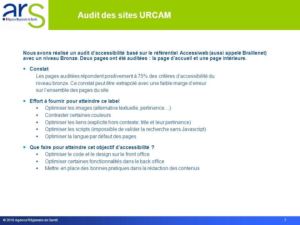 © 2010 Agence Régionale de Santé 7 Nous avons réalisé un audit d'accessibilité basé sur le référentiel Accessiweb (aussi appelé Braillenet) avec un niveau Bronze.