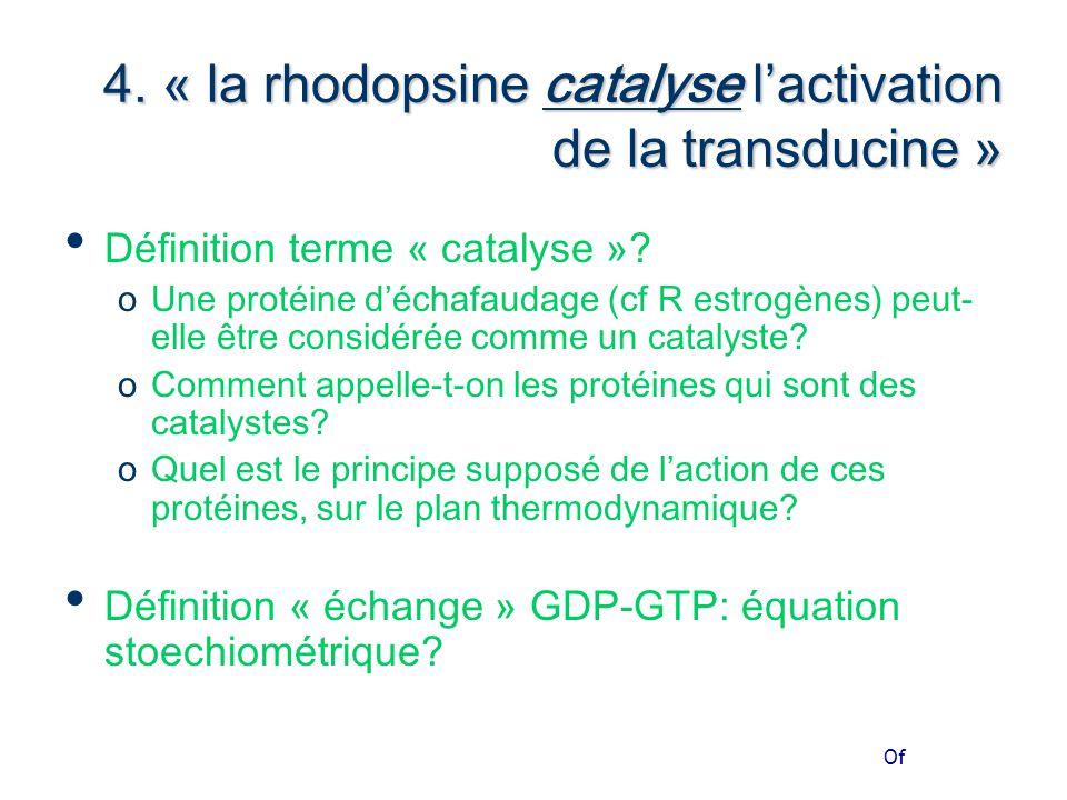 Of 4. « la rhodopsine catalyse l'activation de la transducine » Définition terme « catalyse ».