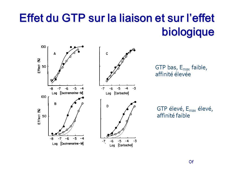 Of Effet du GTP sur la liaison et sur l'effet biologique GTP bas, E max faible, affinité élevée GTP élevé, E max élevé, affinité faible